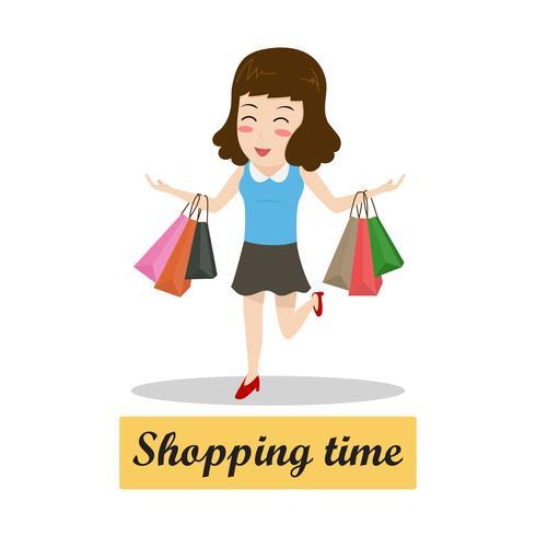 Glückliche Karikaturfrau, die mit Einkaufstaschen - Einkaufszeitkonzept geht