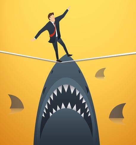 illustrazione di un uomo d'affari che cammina sulla corda con gli squali al di sotto della probabilità di rischio d'impresa