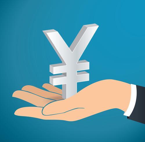 main tenant le vecteur icône Yen japonais