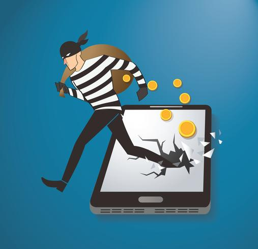Thief Hacker Stealing Money On Smart Phone vector