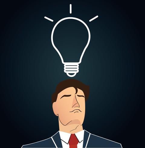 Uomo d'affari pensando con forma di lampadina. concetto di pensiero