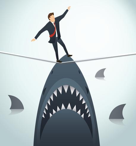 Ilustración de un hombre de negocios caminando sobre una cuerda con tiburones debajo de la posibilidad de riesgo empresarial