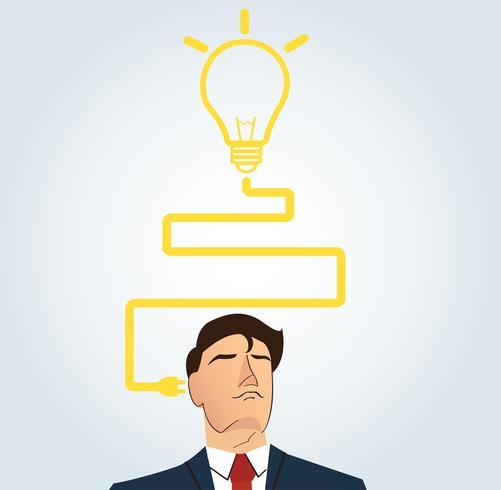 Affärsman tänker med glödlampa form. tankegång vektor