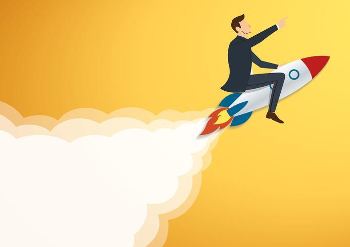 Hombre de negocios que vuela con un cohete al vector acertado del fondo. Ilustración del concepto de negocio