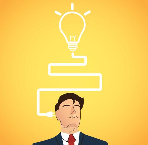 Businessman thinking with light bulb shape. concept of thinking  vector