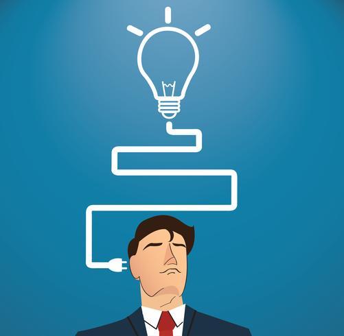 Hombre de negocios pensando con forma de bombilla. concepto de pensamiento