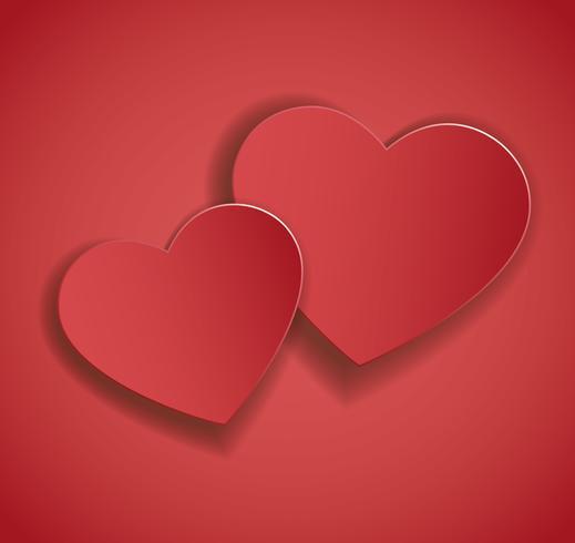 zwei Herzen Symbol Vektor. Valentinstag Hintergrund