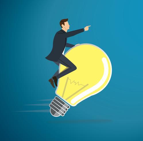 a man riding light bulb icon vector. concept of thinking. creative symbol
