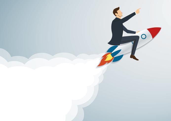 Homme d'affaires volant avec une fusée au vecteur de fond réussi. Illustration de concept d'affaires
