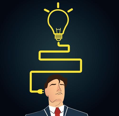 Empresário a pensar com a forma de lâmpada. conceito de pensamento