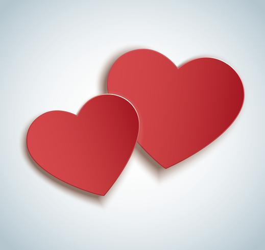 two hearts icon vector. Valentine`s day background