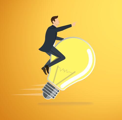 ein Mann, der Glühlampeikonenvektor reitet. Konzept des Denkens. kreatives Symbol