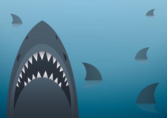 Tiburón ilustración vectorial y el fondo del espacio vector