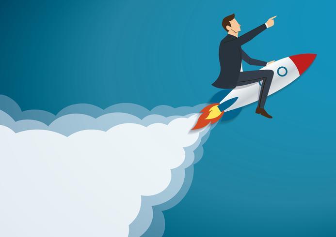 Zakenman die met een Raket aan Succesvolle achtergrond vliegen. Bedrijfs concept illustratie