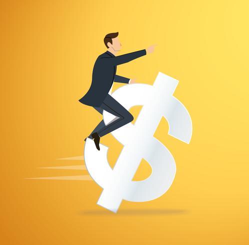 un homme cheval vecteur d'icône dollar. illustration de concept d'affaires. chemin vers le succès