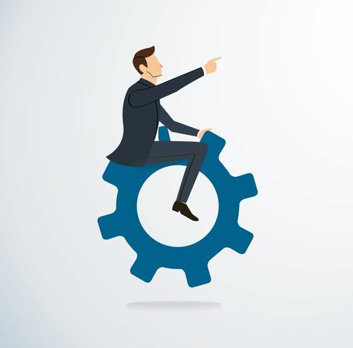 Businessman riding the gear icon vector