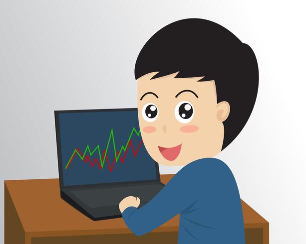 Comerciante de empresário feliz de ilustração vetorial com diagrama de gráfico de bolsa de valores de computador - negócio de conceito