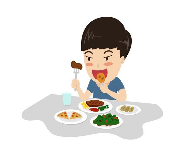 Illustration vectorielle d'un garçon profiter de manger un délicieux repas sur la table - caricature de personnage