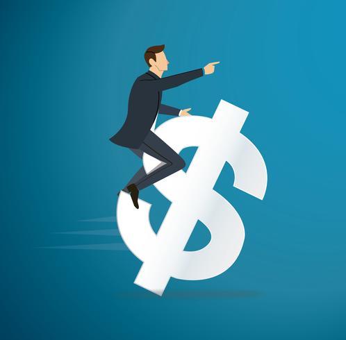 en man som kör dollar ikon vektor. affärsidé illustration. sätt till framgång.