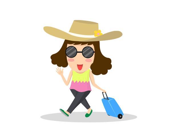il viaggiatore della donna dell'illustrazione del fumetto con la valigia è pronto per la vacanza isolata su fondo bianco