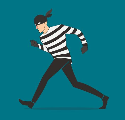 ladrón personaje bandido ladrón de dibujos animados en una máscara