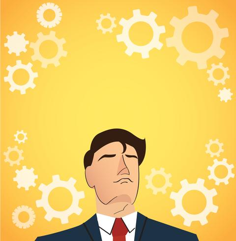 Portrait of businessman with gears icon background vector
