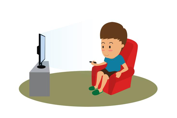 Cartoon man with remote watching TV on sofa - vector illustration
