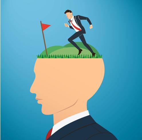 driver affärsman till framgångsrik prestation på stort huvud. Affärsidé