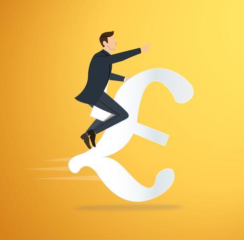 ein Mann, der Euroikonenvektor reitet. Geschäftskonzept Illustration. Weg zum Erfolg