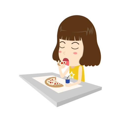 Illustration vectorielle d'heureuse jeune femme mangeant des pizza sur fond blanc de table isolé