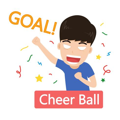 Vector Illustration des netten feiernden Ziels der Fußballfane