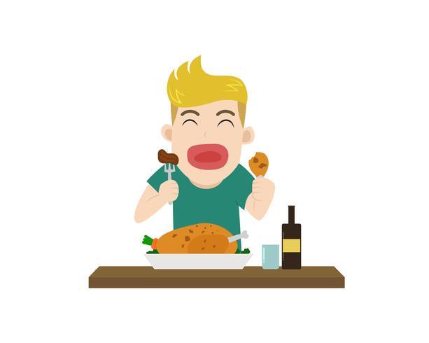 L'illustrazione di vettore di un ragazzo gode di di mangiare il pasto yummy sulla tavola - fumetto del carattere