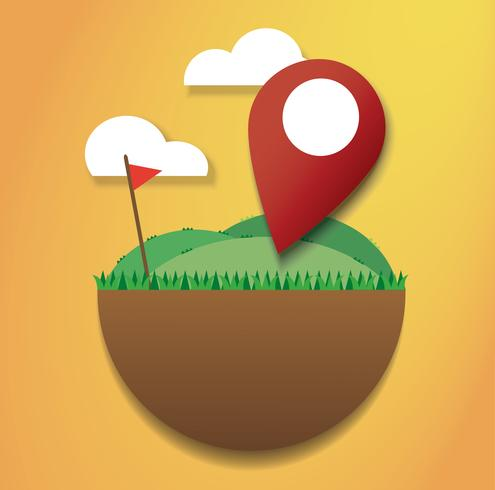 Location icon on the green field and red flag. reach to destination. travel symbol vector