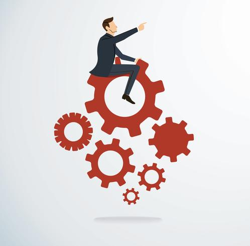 Businessman on the gears icon vector. Business concept illustration