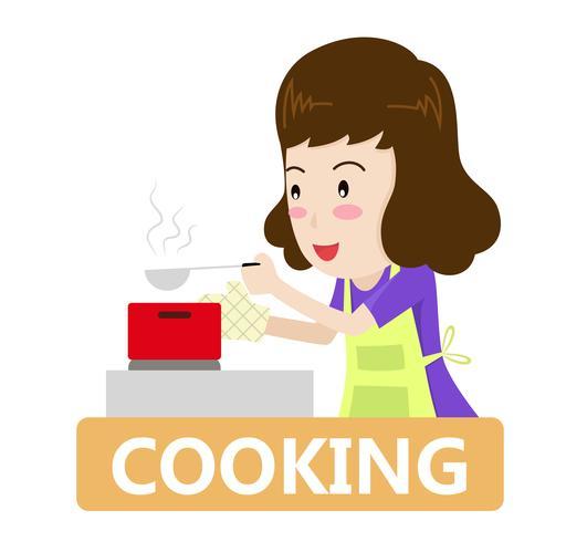 Vect illustration d'une femme cuisine dans la cuisine - concept de cuisine