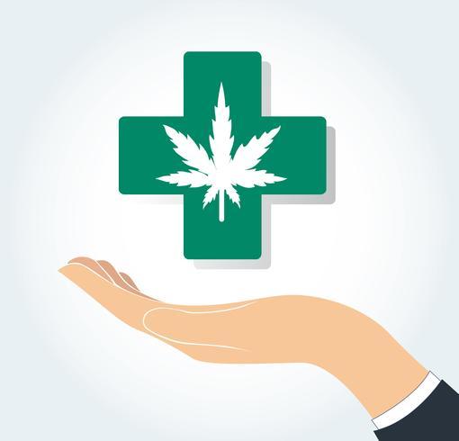 mano sosteniendo el icono de medicina y salud cannabis terapia vector
