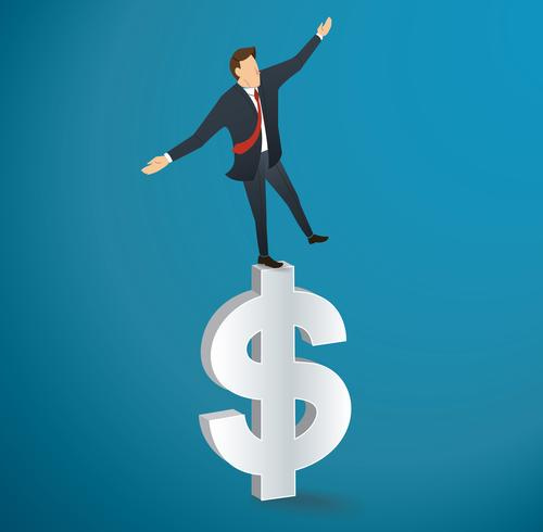 Geschäftsmann oder Mann zu Fuß in Balance auf Dollar-Symbol Vektor