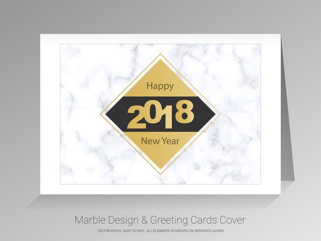 Concept de bonne année 2018, symboles de début et de célébration, cartes de souhaits en marbre fond de vecteur.
