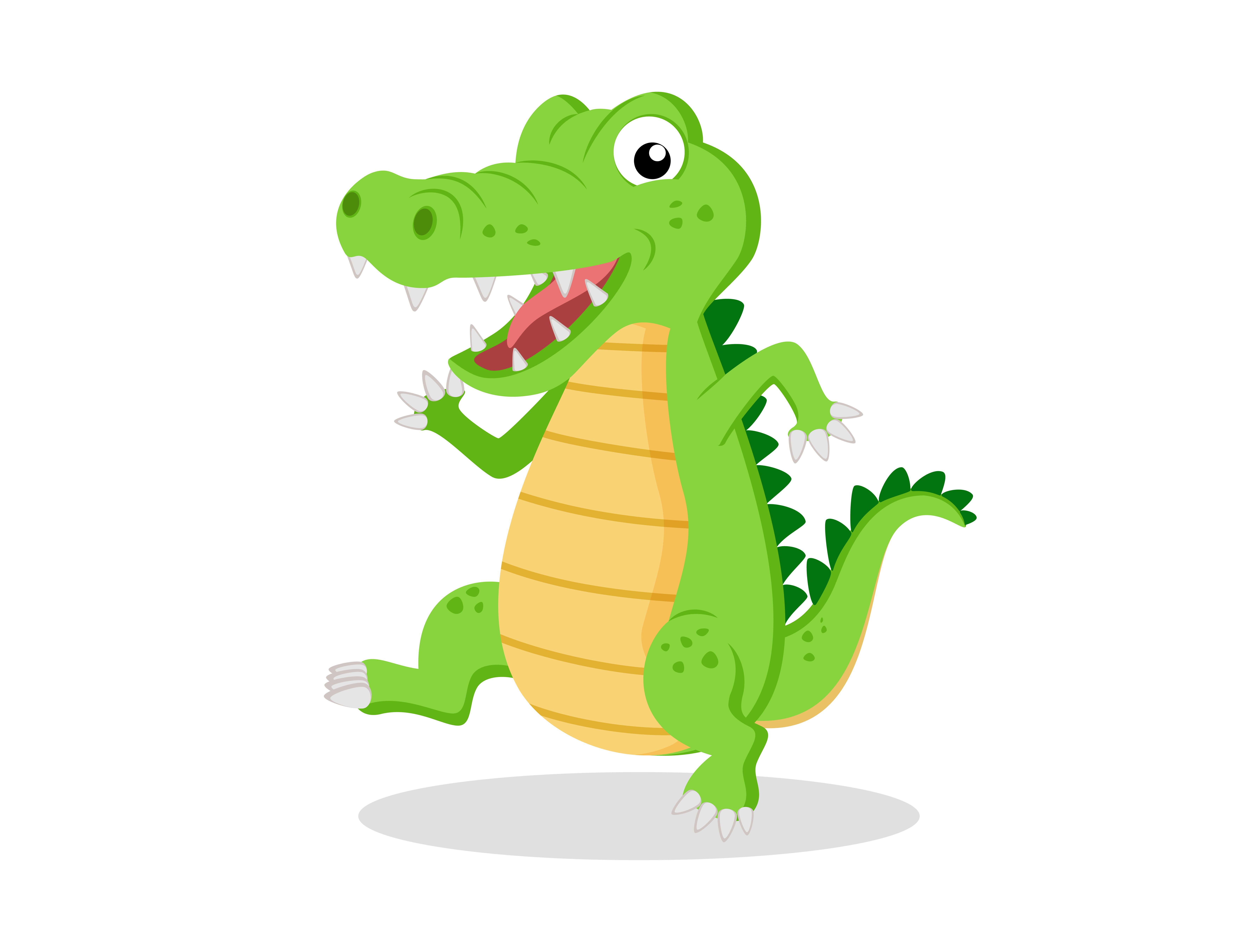 Cute cartoon crocodile( alligator ) on white background ...