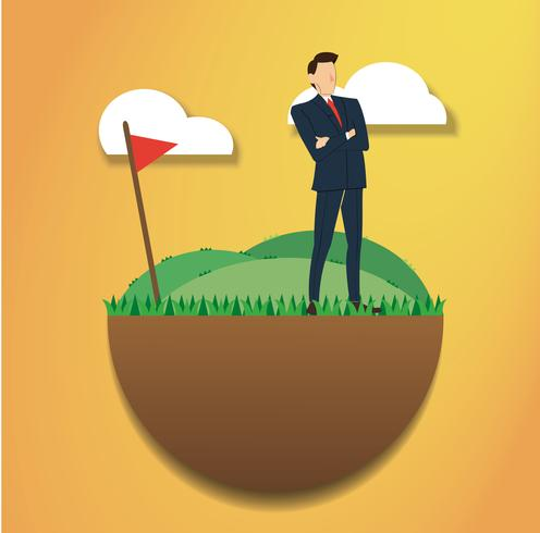 stehender Geschäftsmann auf dem grünen Feld und der Golfflagge. zum Erfolg gelangen. Unternehmenskonzept