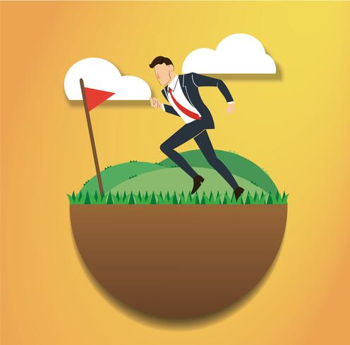 running businessman on the green field and golf flag. reach to success. Business concept
