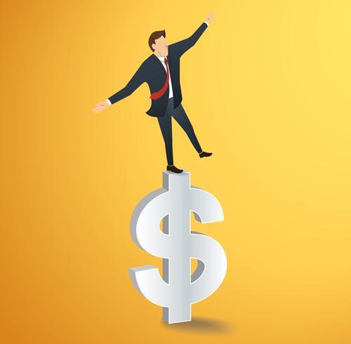 Empresario o hombre caminando en equilibrio en vector icono de dólar
