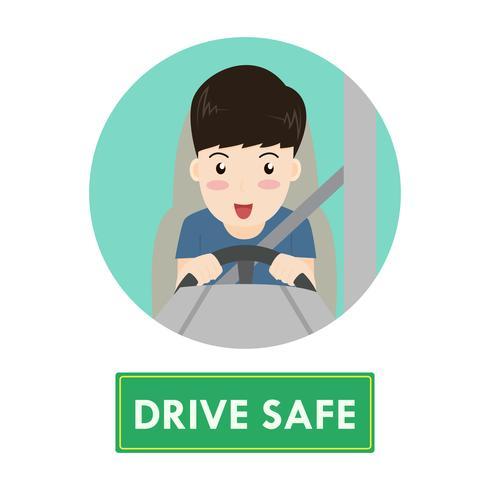 Hombre feliz de dibujos animados conducir coche con seguridad concepto - ilustración vectorial