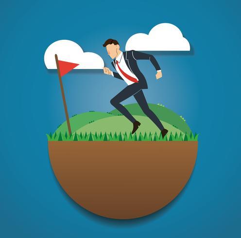 lopende zakenman op het groene veld en golf vlag. bereik naar succes. Bedrijfsconcept