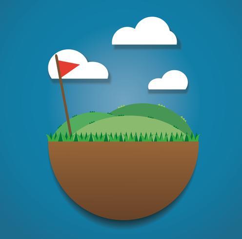 drapeau de golf sur le vecteur de champ vert