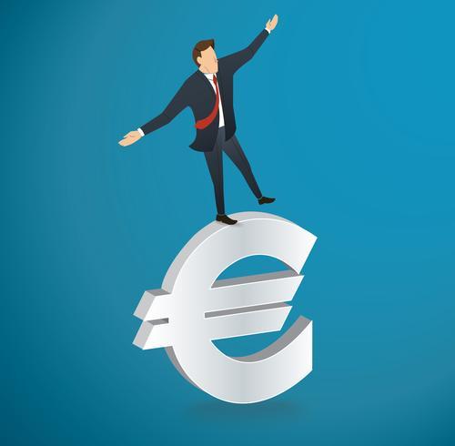 zakenman of man lopen in evenwicht op Euro pictogram vector
