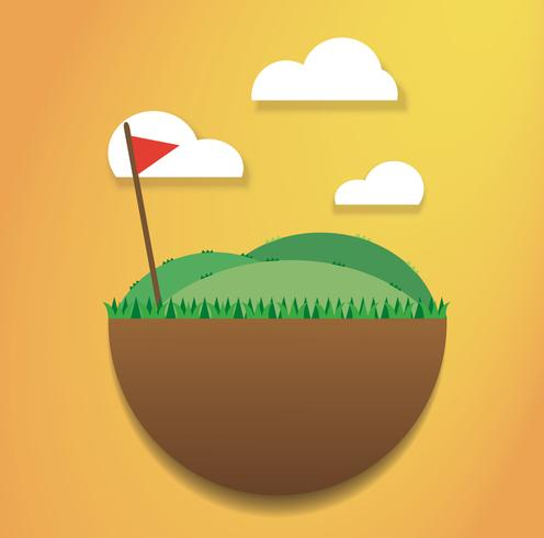 golf flag on the green field vector