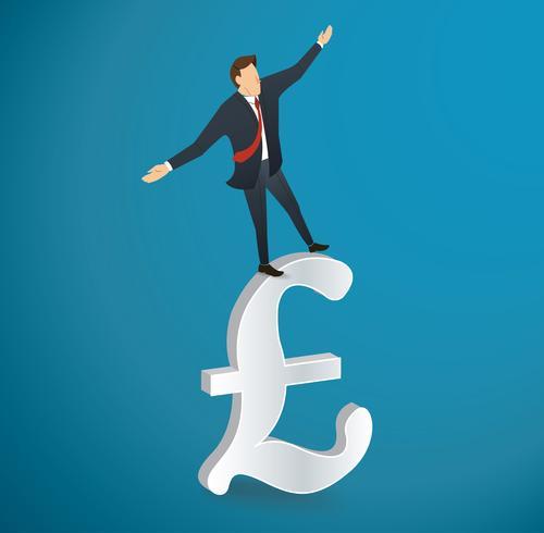 Geschäftsmann oder Mann, die in Balance auf britischem Pfundikonenvektor gehen