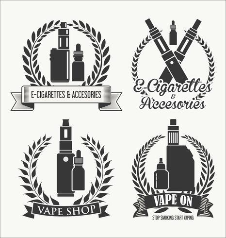 Elementos para la barra de vapor y vape shop cigarrillo electrónico. vector