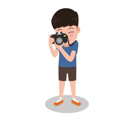 Photographe de bande dessinée illustration de caractère Vector avec caméra debout prendre des photos isolés sur fond blanc